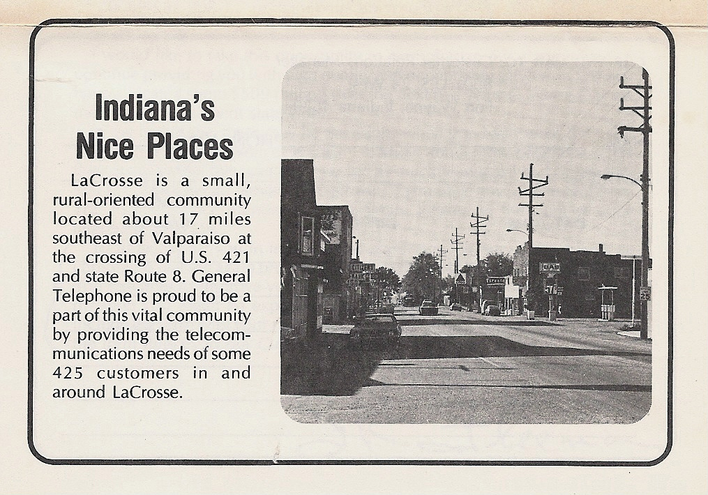 General Telephone leaflet - Feb. 1978 - LaCrosse, Indiana's Nice Places