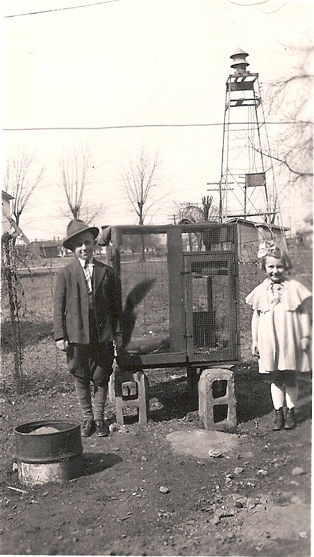William & Mary Pauline Mathews at the LC fire siren in 1940s